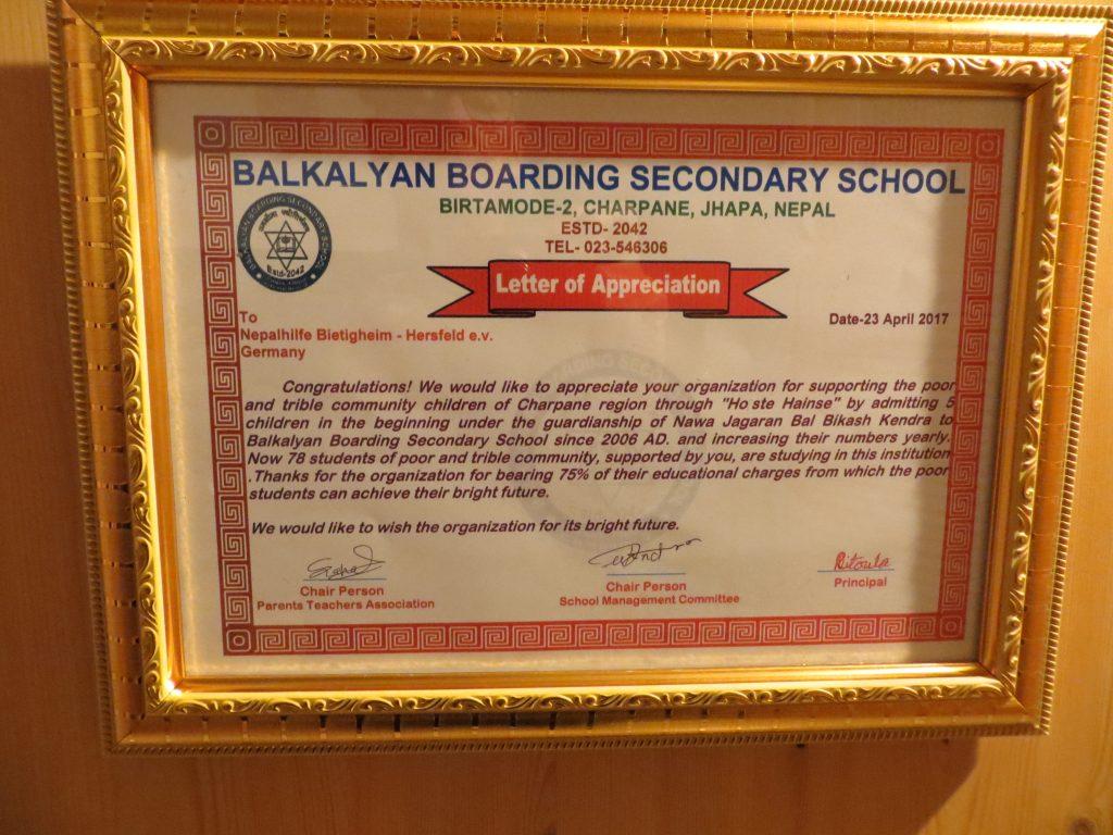 Anerkennungsschreiben von der Schule an unseren Verein